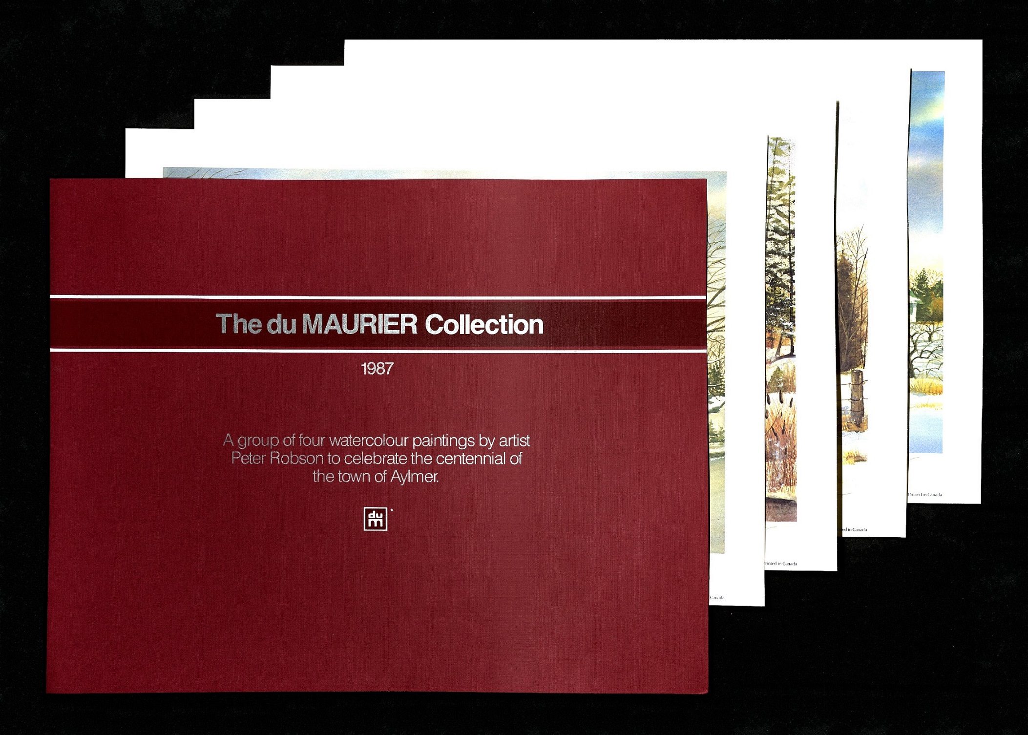 All four prints in the Du Maurier collection depicted with their containing folder.