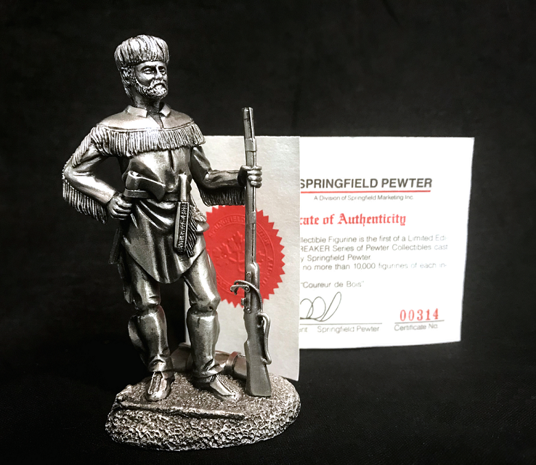 Image of the Coureur du Bois pewter figurine for sale at the Aylmer Museum.