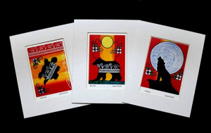 All three matted prints by Joanne Mitchell available for sale at the Aylmer Museum.