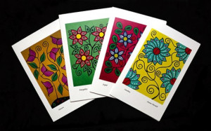 All four art cards by Joanne Mitchell available for sale at the Aylmer Museum.